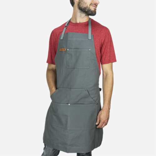 Chef Pomodoro Kitchen Apron- Adjustable Pockets, Bibs - Designed for Home, BBQ, Grill Use Perspective: front