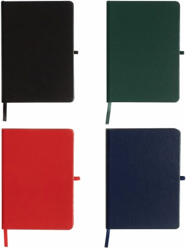 WallDeca Classic Lined Notebook Journal, Hard Cover, 240 Pages, Ruled 8.25 x 5  (4-Pack) Perspective: front
