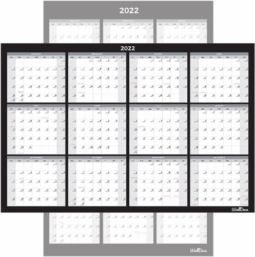 Large Annual Erasable Laminated Wall Calendar, 24 x 36 Inch, 2-Sided Reversible Perspective: front