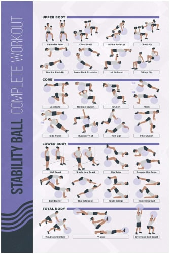 FitMate Stability Ball Workout Exercise Poster - Workout Routine Perspective: front
