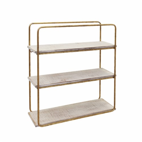 Metal / Wood 3 Tier Wall Shelf, Gold Perspective: front