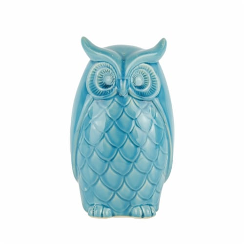 Ceramic Owl Decor, 10 , Teal Perspective: front