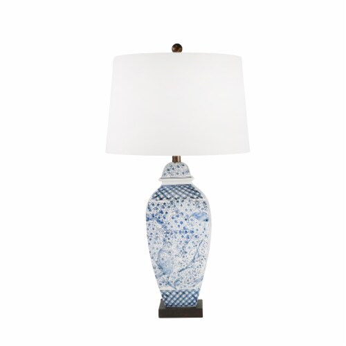 Ceramic 31  Ginger Jar Table Lamp, Blue/White Perspective: front