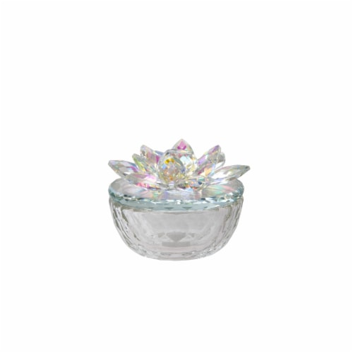 Glass Trinket Box Clear W/Rainbow Perspective: front