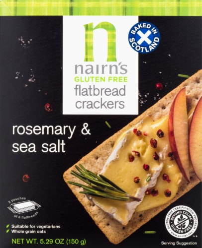 Nairn's Gluten Free Rosemary & Sea Salt Flatbread Crackers Perspective: front
