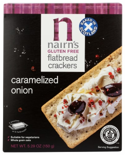 Nairn's Glute Free Caramelized Onion Flatbread Crackers Perspective: front