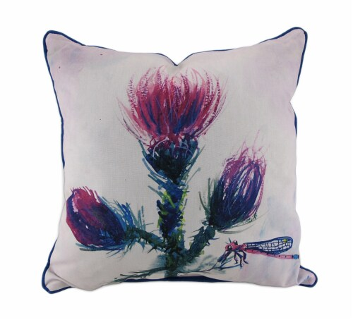 Betsy Drake Thistle Blue and Beige In/Outdoor Decorative Throw Pillow 18in. Perspective: front