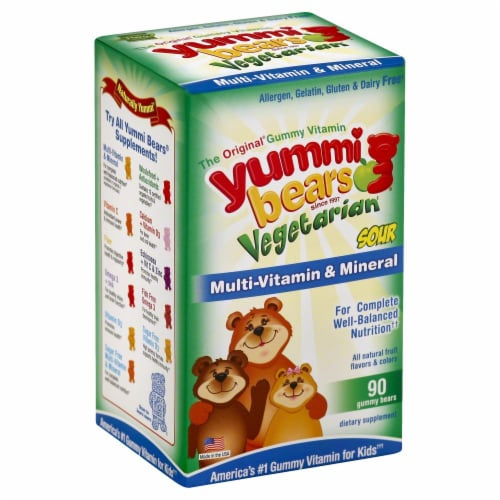 Hero Nutritionals Yummi Bears Sour Gummy Vitamins Perspective: front