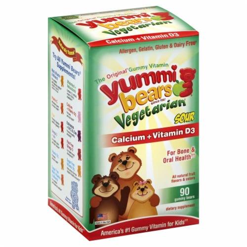 The Original Gummy Vitamins Vegetarian Calcium + Vitamin D Sour Yummi Bears Perspective: front