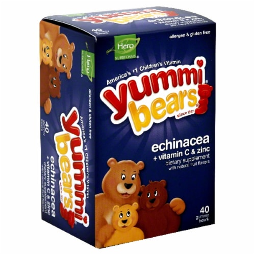 Hero Nutritionals Yummi Bears Echinacea Vitamin C & Zinc Gummy Bears Perspective: front