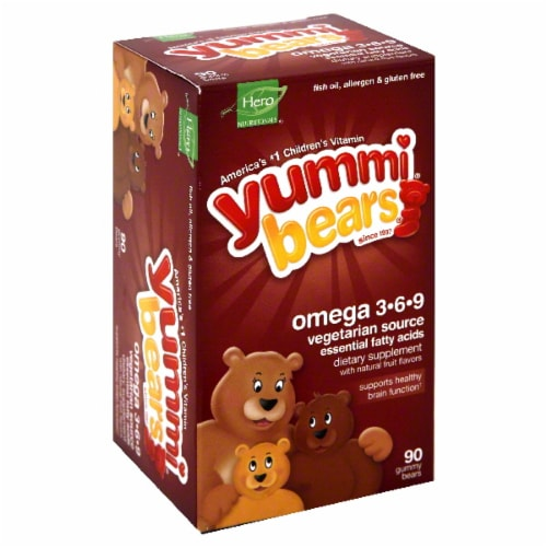Hero Nutritionals Yummi Bears Omega 3-6-9 Perspective: front