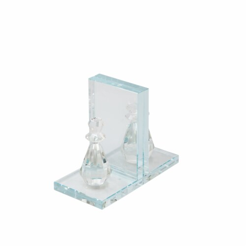 S/2 Crystal Chess Piece Bookends, Clear Perspective: front