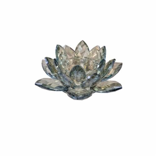 Crystal 8.25  Lotus Votive Holder, Blue Perspective: front