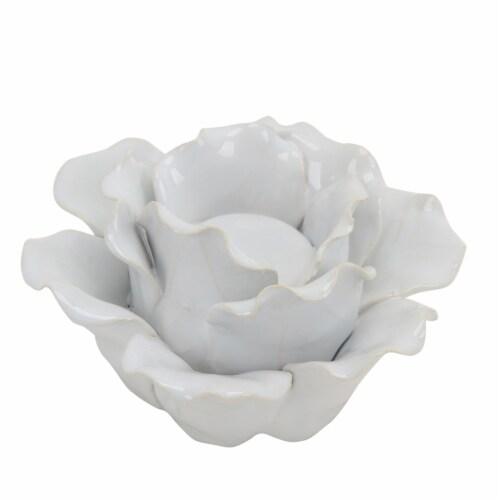 Ceramic 6  Rose Tealight Holder, White Perspective: front