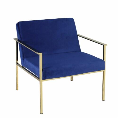 Metal/Velveteen Arm Chair, Navy/Gold Perspective: front