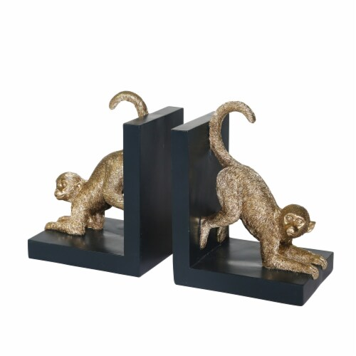S/2, Resin 8 H Monkey Bookends, Gold Perspective: front