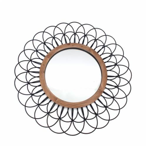 Metal 40  Loop Wall Mirror, Black Wb Perspective: front