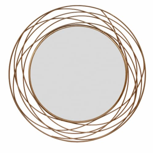 Metal 36  Swirl Mirror, Gold Wb Perspective: front
