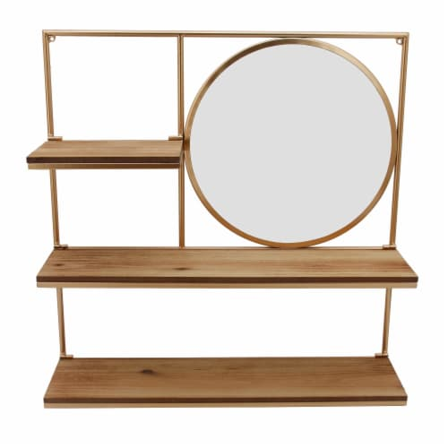Metal 24  Wall Shelf W/ Round Mirror, Gold Perspective: front