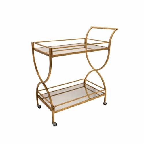 Metal 33  2-Tier Rolling Bar Cart, Gold Perspective: front