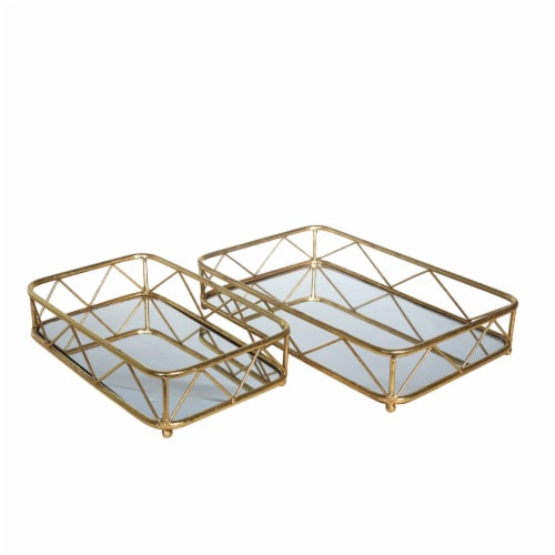S/2Metal/Glass Trays, Gold Leaf Perspective: front