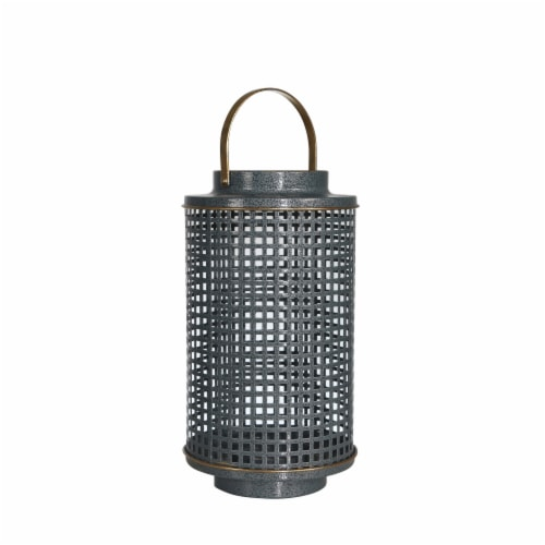 Metal 12  Grid Candle Holder,Turq Perspective: front