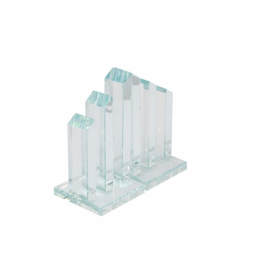 S/2 Crystal Pillar Bookends, Clear Perspective: front