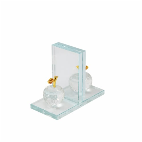 S/2 Crystal Apple Bookends, Clear Perspective: front