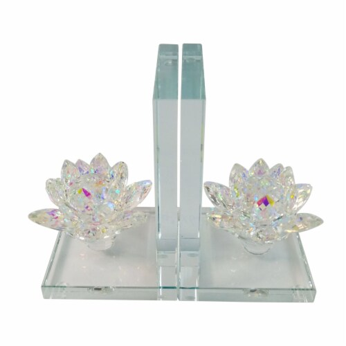 S/2 Crystal Lotus Bookends, Rainbow Perspective: front