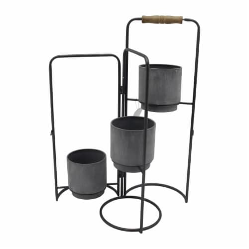 Metal 22  3-Tier Foldable Planters,  Black Perspective: front