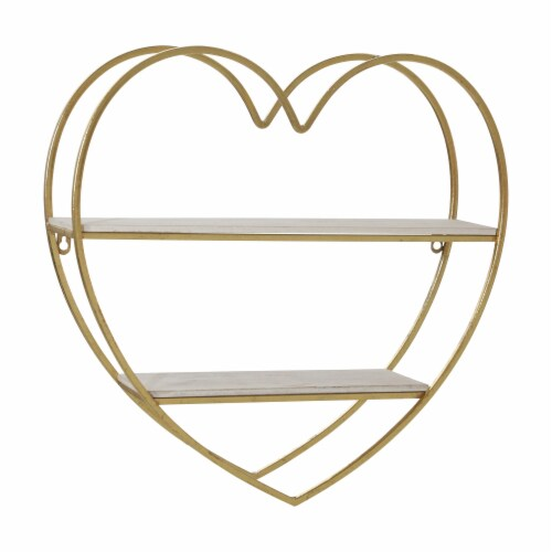 Metal/Wood 2 Tier Heart Wall Shelf, White/Gold Perspective: front