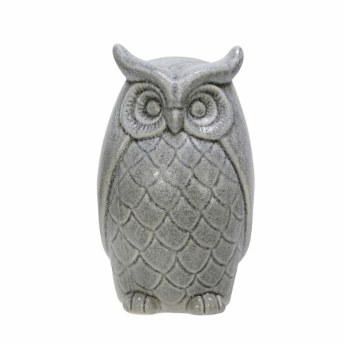 Ceramic 10  Owl Figurine, Gray Perspective: front