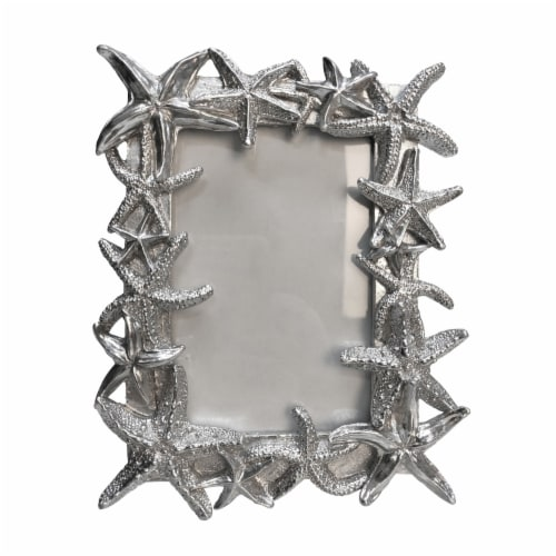 Polyresin 4X6  Starfish Photo Frame, Silver Perspective: front