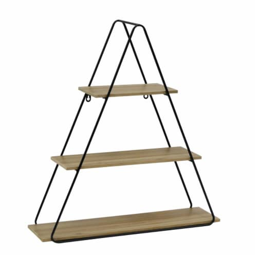 Metal/Wood 26  Triangle Wall Shelf, Brown/Black Perspective: front