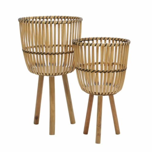 S/2 Wicker Footed Planters 10/12 , Natural Perspective: front