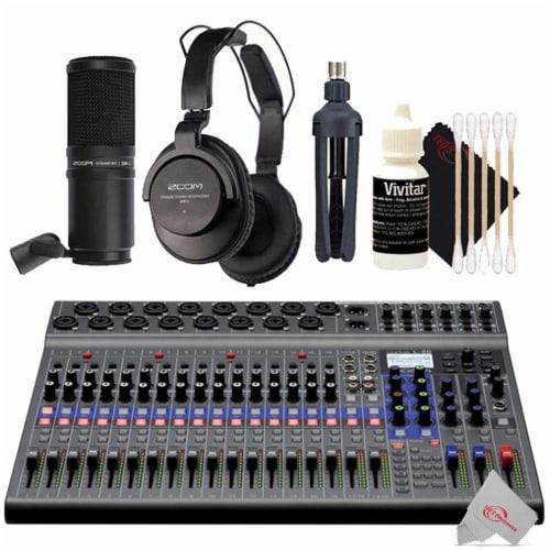 Zoom Livetrak L-20 Digital Mixer Multitrack Recorder + Mic Accessory Bundle Perspective: front