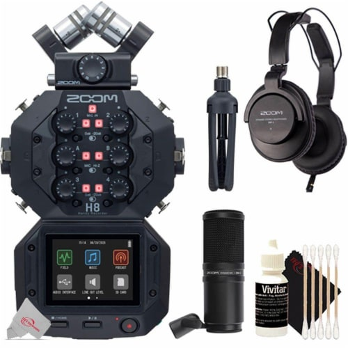 Zoom H8 8-input 12-track Digital Handy Audio Recorder + Zdm-1 Podcast Mic Bundle Perspective: front