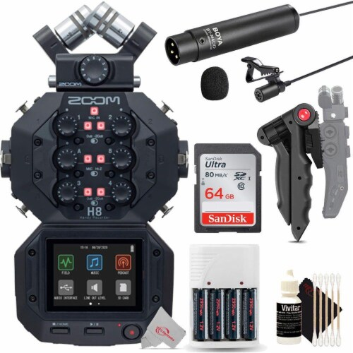 Zoom H8 8-input 12-track Digital Handy Audio Recorder + Mic Accessory Kit Perspective: front