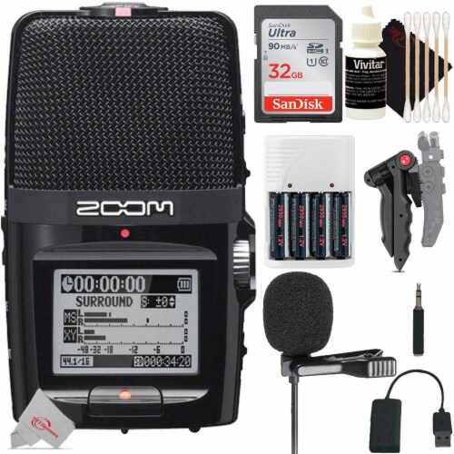 Zoom H2n Ext 2-input 4 Track Handy Digital Audio Recorder + Streaming Mic Kit Perspective: front