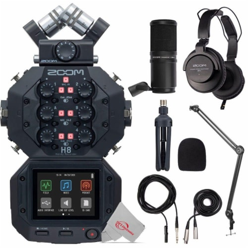 Zoom H8 8-input 12-track Digital Recorder + Mic Accessory Bundle + Bracket Perspective: front