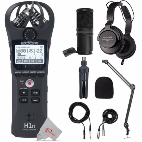 Zoom H1n 2-input 2-track Digital Recorder + Mic Accessory Bundle + Bracket Perspective: front