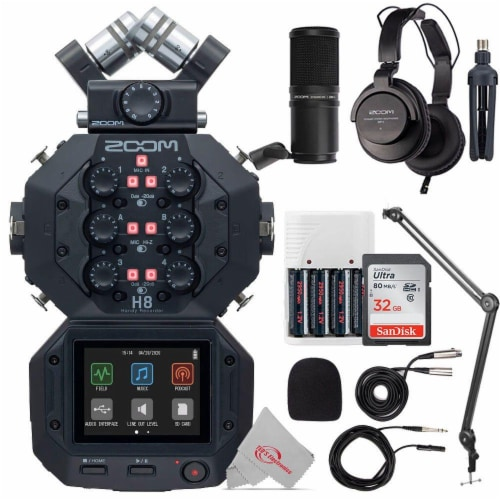 Zoom H8 8-input 12-track Digital Recorder + Podcast Accessory Bundle Perspective: front