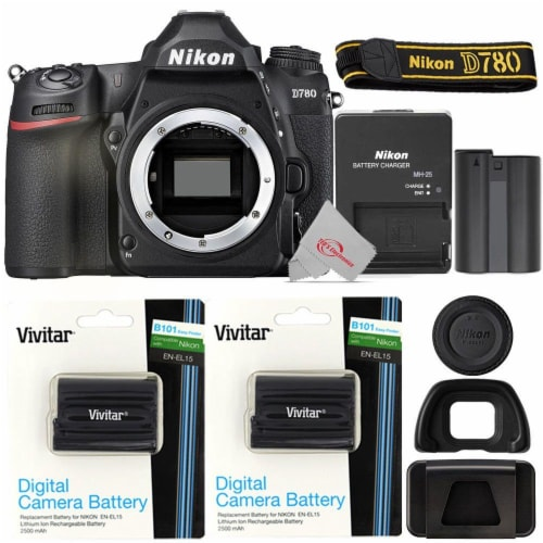 Nikon D780 Fx-format Dslr Camera Body With Two Pcs Xpdenel15 Replacement Battery Perspective: front