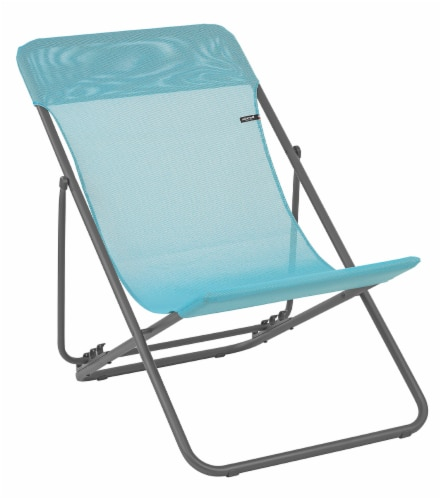 Set of 2 Aqua European Folding Beach Chairs Perspective: front