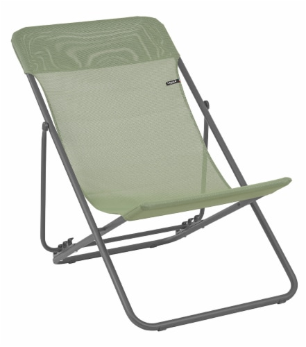 Set of 2 Moss Green European Folding Beach Chairs Perspective: front