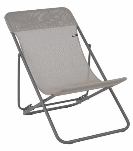 Set of 2 Taupe European Folding Beach Chairs Perspective: front