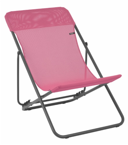 Set of 2 Bright Pink European Folding Beach Chairs Perspective: front
