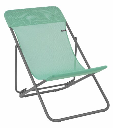 Set of 2 Mint Green European Folding Beach Chairs Perspective: front