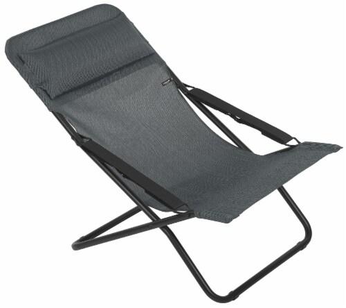 Premium Graphite European Folding Beach Chair Perspective: front