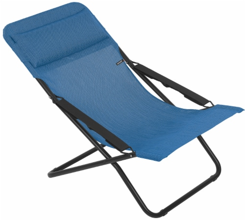 Premium Marine Blue European Folding Beach Chair Perspective: front